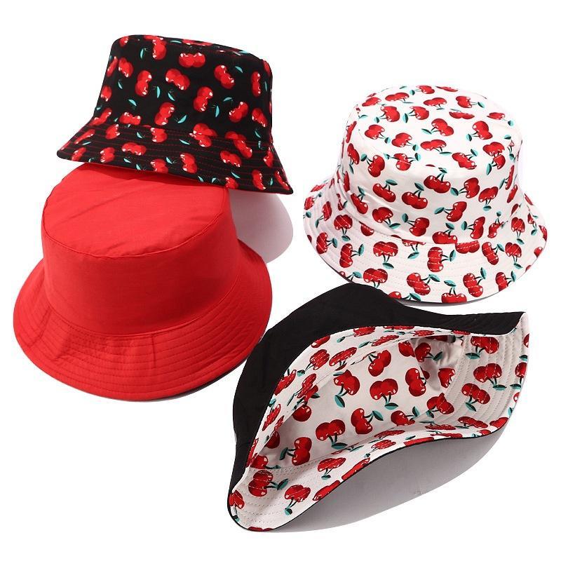 Cotton Bucket Hat Cherry Stampa pescatore Cappelli Uomo Donna giapponese Piccolo dolce Flat Top Secchio Sole Cappellini Berretti Accessori per adulti