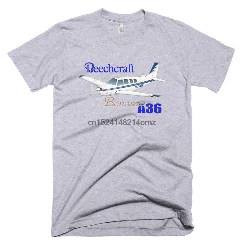 Kişiselleştirilmiş Tee Shirt -% 100 Pamuklu Erkek Yaz O-Boyun Beechcraft Bonanza A36 (Mavi) Uçak Tişört Baskı