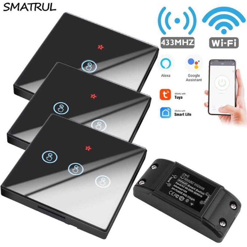 SMATRUL Туя Смарт Life APP WiFi сенсорный выключатель свет RF 433Mhz стеновая панель DIY Реле Таймер Главная Amazon Alexa гнездо лампы 90-250V
