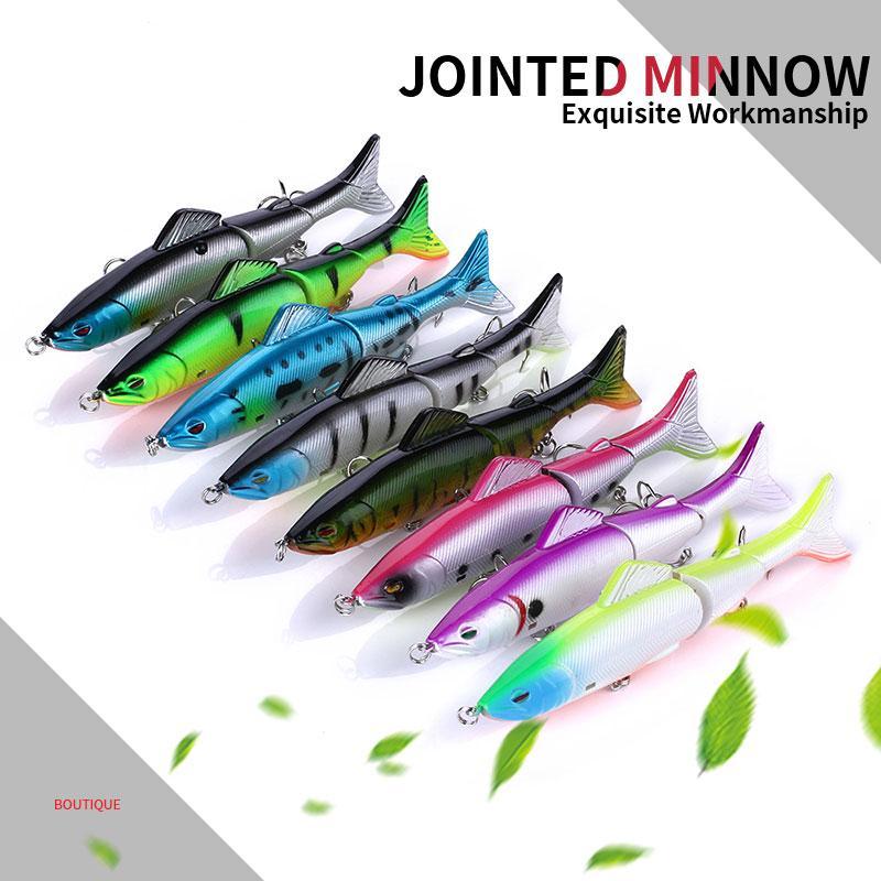 Hengjia 80PCS grossista snodati di collegamento esche altura Minnow Rap filatore di plastica esca Sezione Tre pesci 8Colors 12.5CM / 17.7G JM009