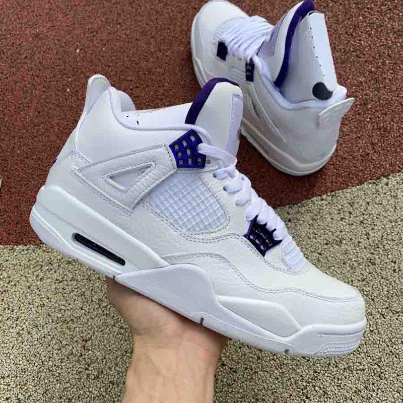 op qualité 4 chaussures de basket-ball rétro en métal violet 4 baskets en plein air avec la taille de la boîte d'origine de 40 à 47,5