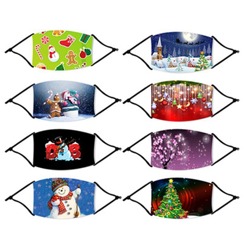 Máscaras Navidad de la manera de los niños de Navidad máscara cubierta de la cara exterior del copo de nieve polvo anti Boca Navidad reutilizable lavable Máscara IIA609