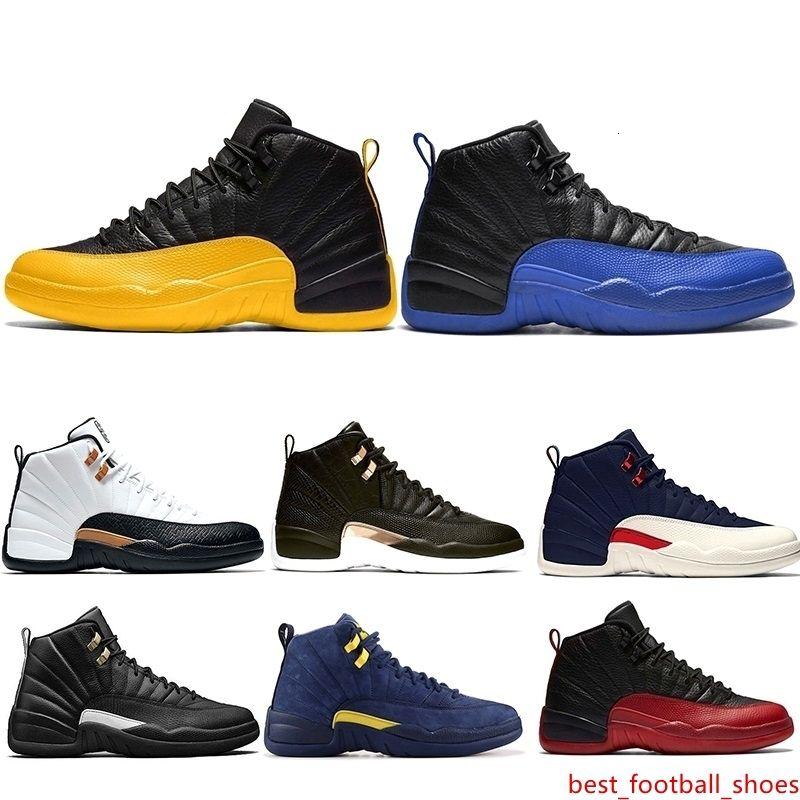Juego real 12 de la Universidad de oro 12s zapatos de baloncesto de los hombres CNY Negro medianoche Taxi inversa para hombre zapatillas deportivas entrenador de atletismo Tamaño 40-47