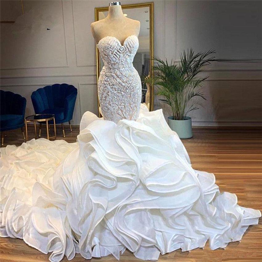 Glamorous Mermaid Wedding Dress Sweetheart Beaded Pearl Tiered Ruffles Chapel Train Bridal Gowns Off Shoulder Sexy Wedding Dresses