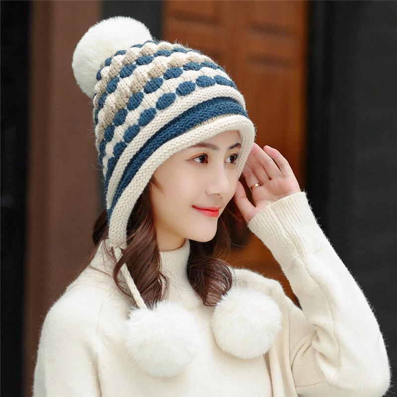 Wintermütze Halsbänder Zwei PC-Sets Mädchen bunte Mützen Female Schal Anzug Warm Hit Farbe gestrickte Plus Velvet Thick Wild Wool Cap 6Kso #