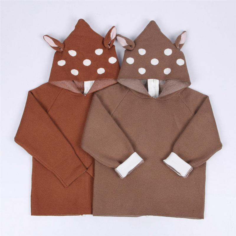 1-5Yrs New Baby Girls Boys Sweater Cartoon Deer Costume Cardigan Hooded Toddler Kids Boys Dot Animal Knitted Crochet Clothing Y200831