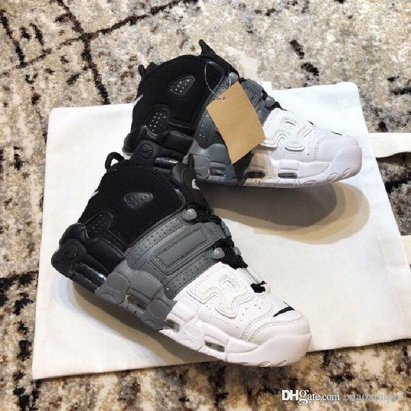 Ar mais Uptempo basquete sapatos mens para venda grande Scottie Pippen 96 QS escuro estuque Preto crianças jovens mulheres botas com caixa original