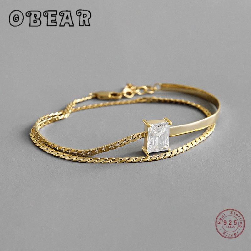 OBEAR 100% стерлингового серебра 925 двухслойный площади Ослепительная CZ браслеты для женщин Свадебные украшения подарков p3Sl #