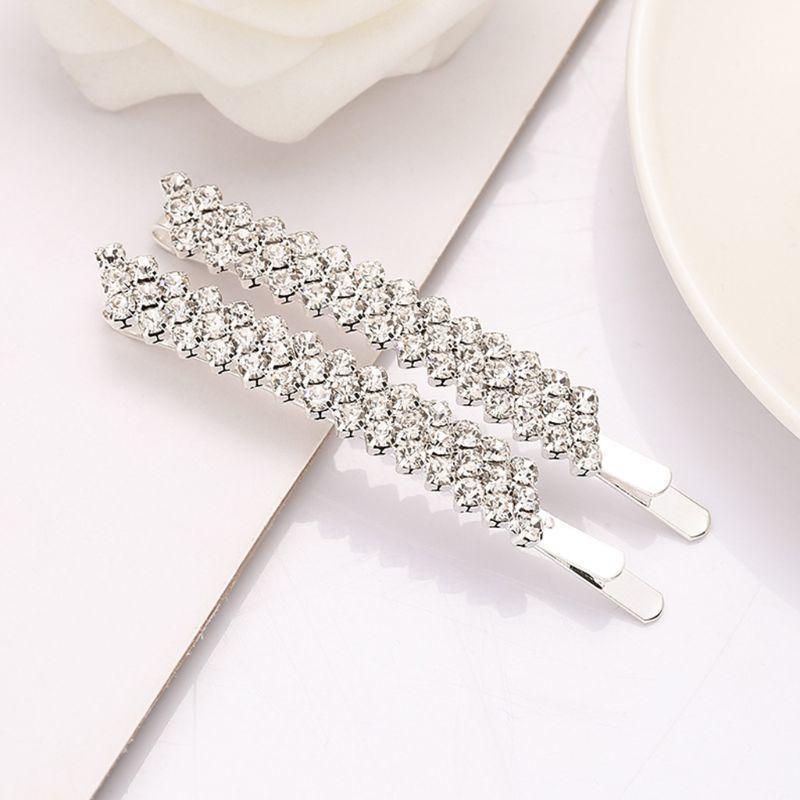 Minimalist Üç Sıralar İmitasyon Kristal Klip Bayan Gelinlik Dekoratif Saç Aksesuarları Işıltılı Yapay elmas Takı tokalar