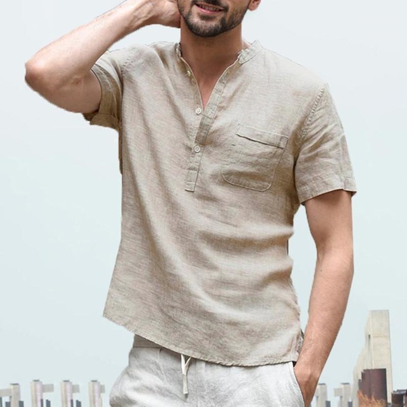 с Карман моды рубашки с коротким рукавом Мужская одежда Мужские Повседневный Дизайнерские Natural Color Мандарин воротник рубашки