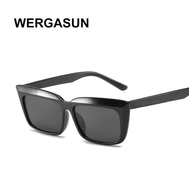 Shaped WERGASUN New Cat Eye Mulheres óculos de sol matizados cor da lente Homens Vintage Designer Sun Óculos Feminino óculos de marca
