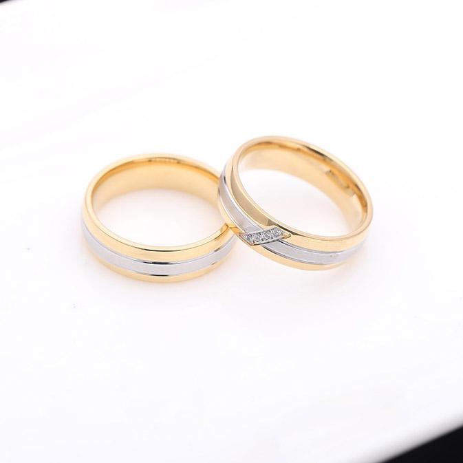 Zarif Erkekler Kadınlar Moda Altın Paslanmaz Çelik Takı Düğün Nişan Seti Yüzük Çift Yüzük ölçüsü 6-12