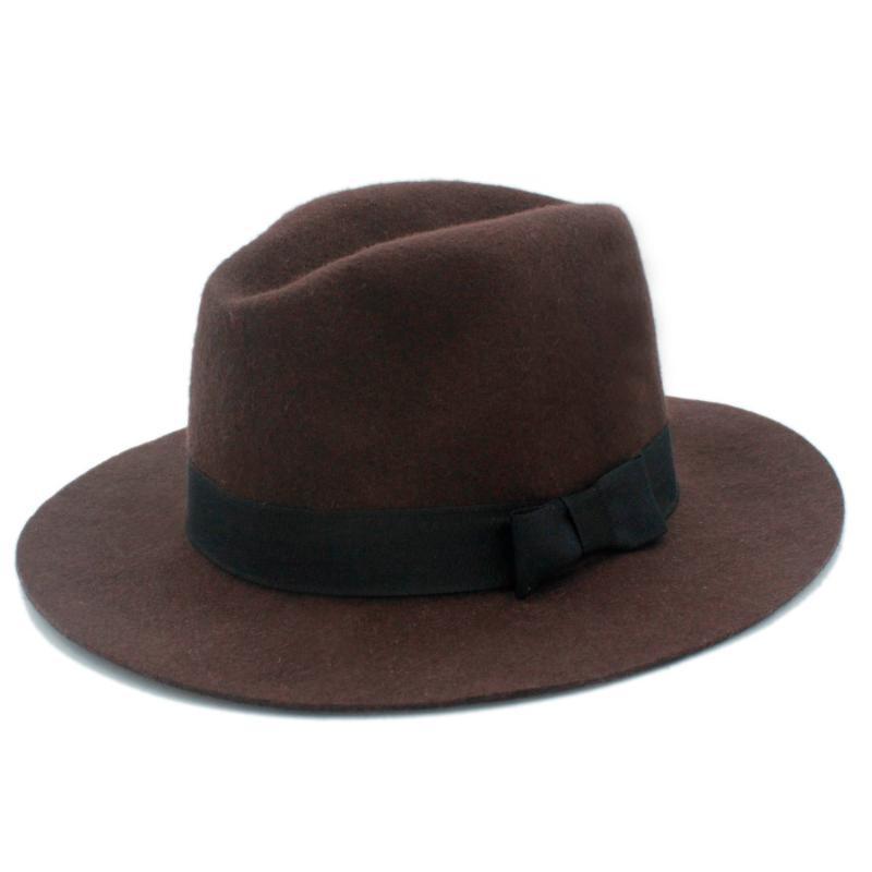 100% Laine large Automne Hiver Brim Floppy feutre Trilby Fedora bowknot chapeau pour dames élégant womem Top Hat 20 Cloche
