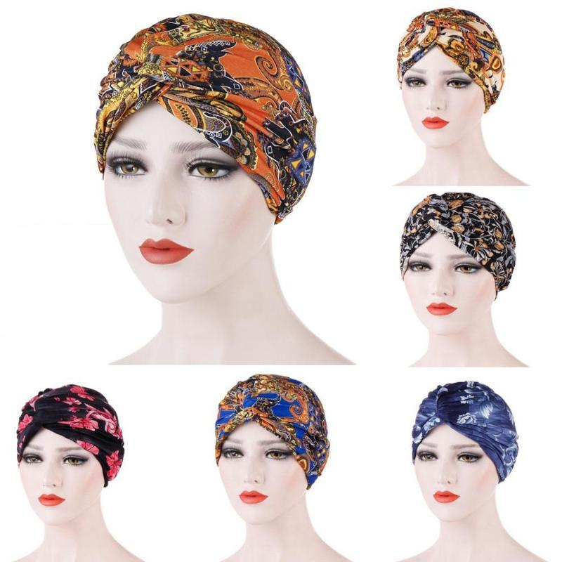 impressão feminino cap gorro testa torção cabelo Africano capot mulheres muçulmanas turbante Chefe cabeça tampa envoltório TB-19