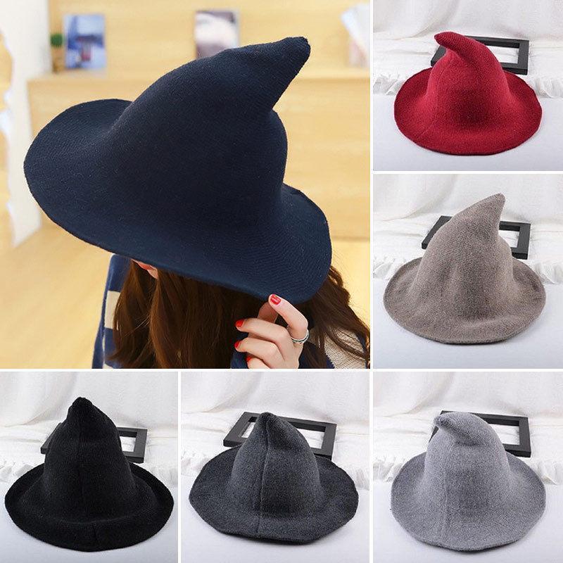 Halloween-Party-Hexe Hüte Fashion Solid Moderne Hexenhut aus Schafswolle 6 Farben