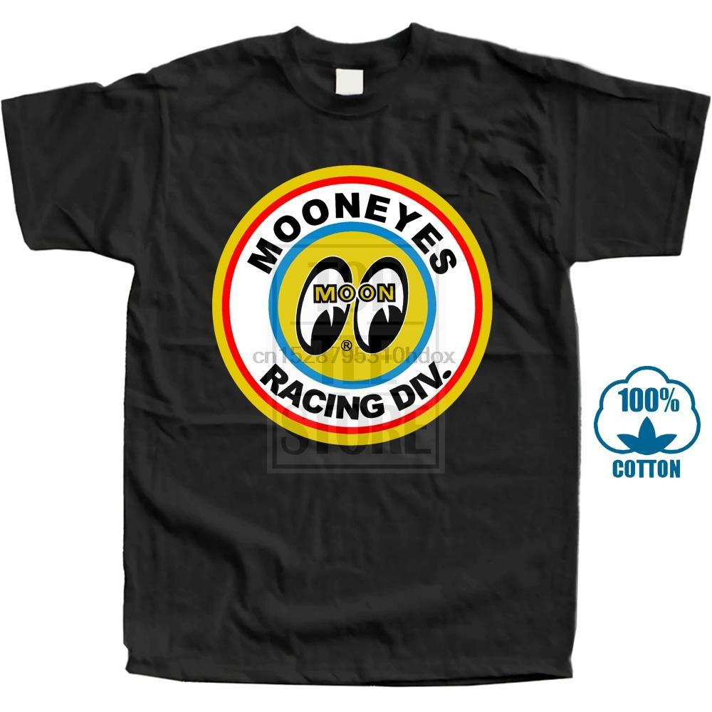 Mooneyes Luna Equipado Speed Racer superior la ropa camiseta del logotipo de los hombres