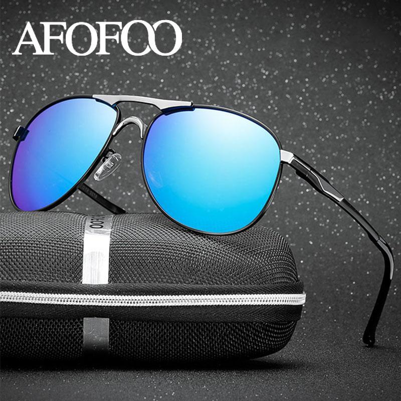 Shades Men Polarizziand Occhiali da sole Eyewear Design Accessori in metallo Driving maschio oculos Brand Coating Glasses Sole Afofoo UV400 BCVNF