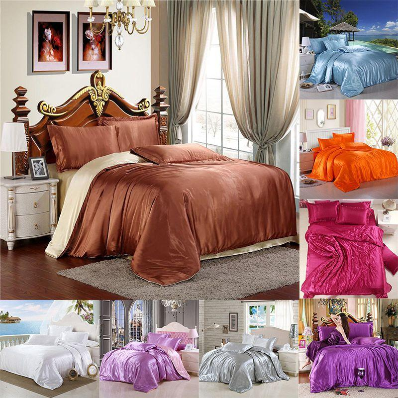 4pc Satin Silk Bedding Set Luxury Queen King Size Bed Set Soft Comforter Quilt Duvet Cover Linens with Pillowcases and Bed Sheet