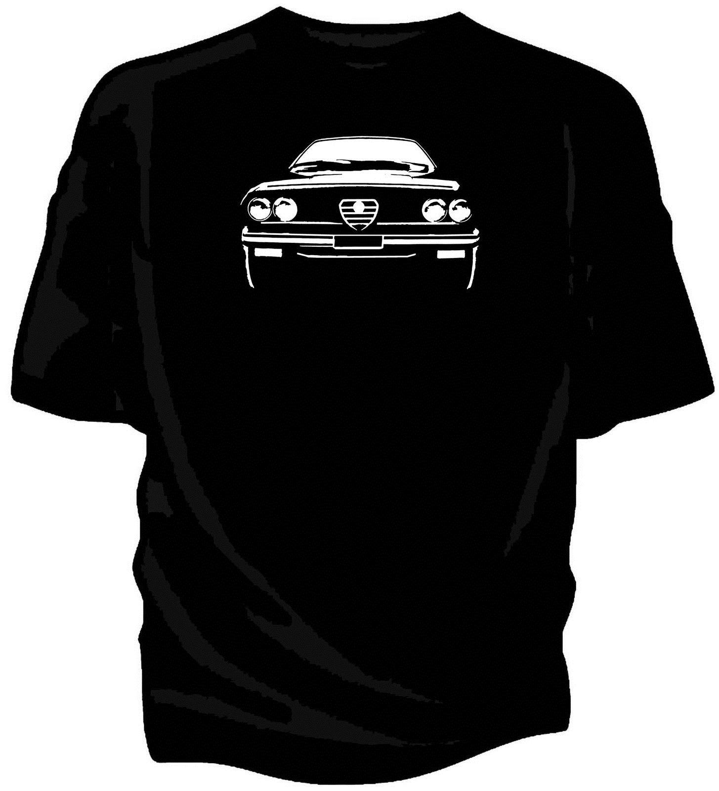 Nuevo estilo del verano Impreso algodón del cuello de O Tee Shirts Los aficionados italiana Classic Car GTV6 - Ilustraciones originales del bosquejo divertido de algodón de la camiseta