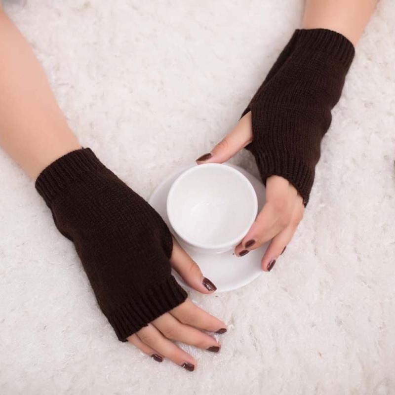 Cinco dedos Guantes de Fingeres Mujeres con estilo Mano Calentador de Invierno Arma de Invierno Punto Tejido Mité Mitamento Cálido Femme Femme #YJ