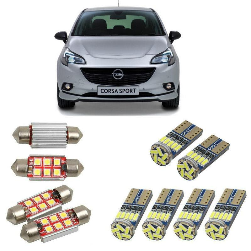 Intérieur Lampes au LED voiture pour corsa e van x15 x15 corsa e hatchback ampoules pour les voitures plaque d'immatriculation lumière 7pc