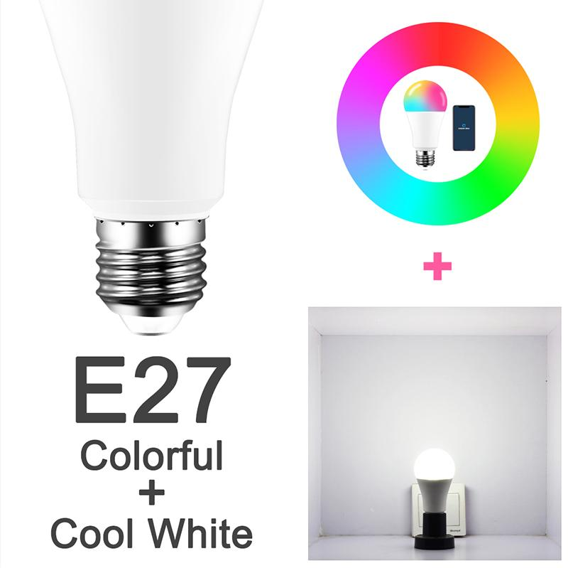 9w Wifi Smart Bulb E27 Led Rgb Light Works With Alexa/google Home 85-265v Rgb + White Dimmable Timer Function Magic Bulb