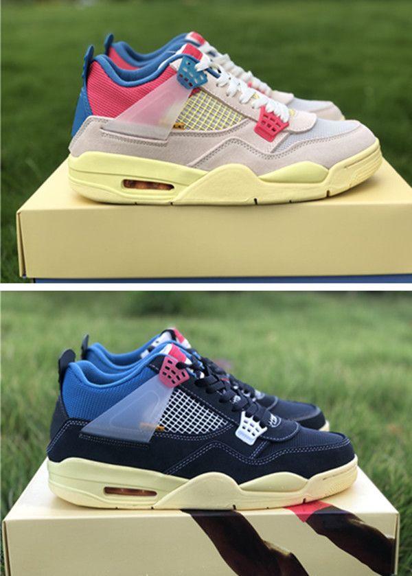 상자 4S 높은 스니커즈 UNION 4 높은 품질 LA는 4 개 분홍색, 흰색, 검은 색 UN 신발 구아바 아이스 디자이너 신발 X가