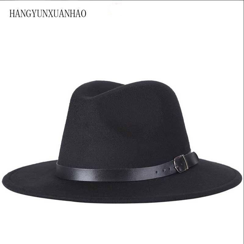 عالية الجودة من الصوف قبعة فيدورا كلاسيكي حزام واسع بريم جاز قبعات للنساء رجال الصوف ورأى القبعات قبعات الشتاء الخريف