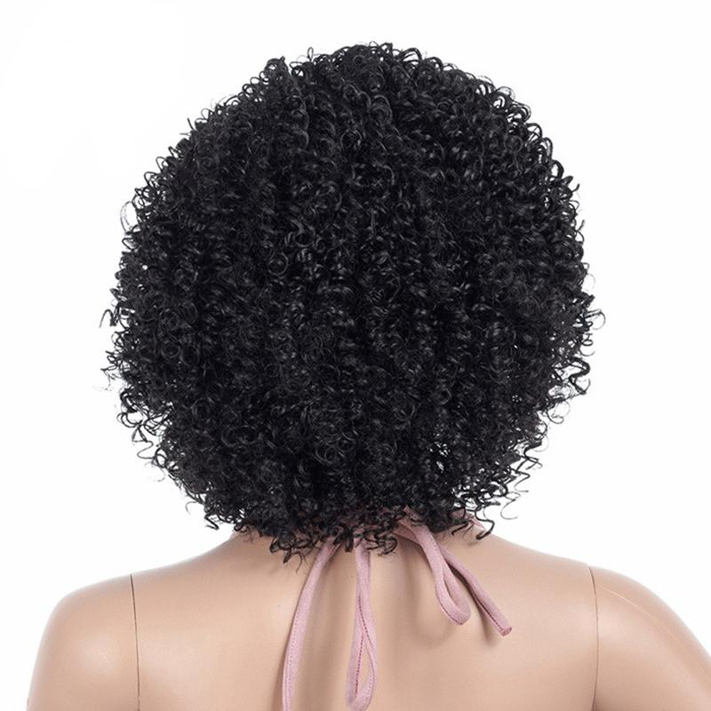 Msiwigs Black Afro Curly Wigs For Women Side Part Synthetic Short Hair Wig Heat Resistant America Hair2020 new