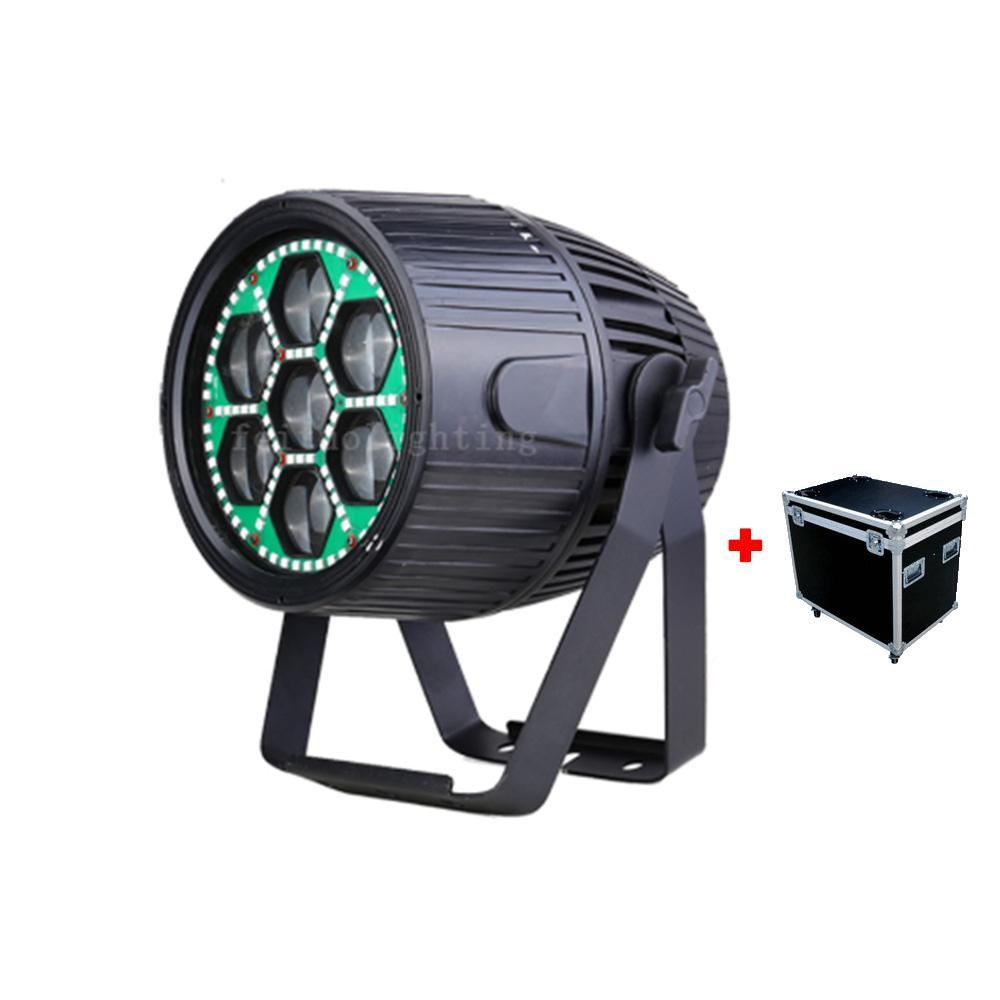 4 шт. + Чехол Flight IP65 LED Zoom BA PAR CAN 7x30W RGBW 4in1 + 96x0.2W УФ на открытом воздухе Светодиодный светодиодный Zoom Aluminum Водонепроницаемый светодиодный светильник