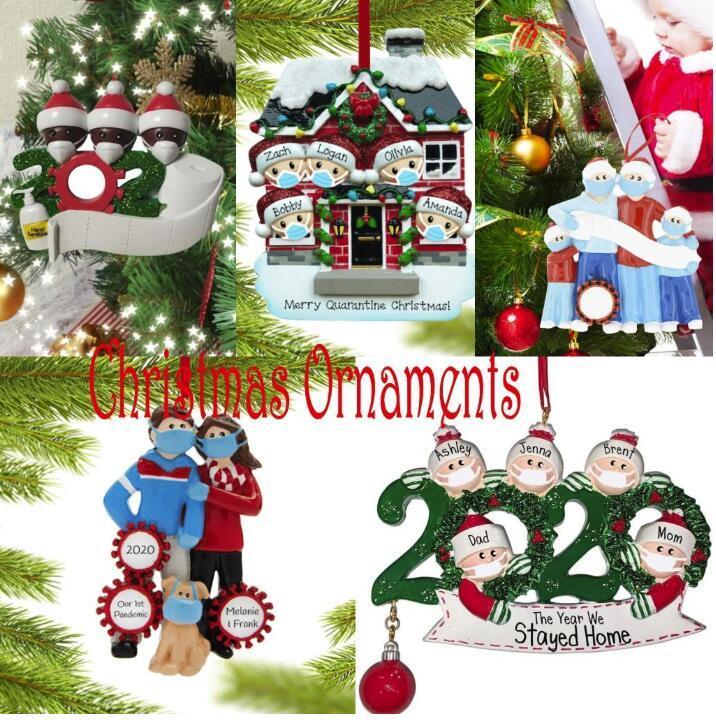 Fiesta de Navidad para requisitos particulares de cuarentena Decoración de regalo con el rotulador de la Familia personalizada de 7 ornamento de la pandemia de distanciamiento fy4265
