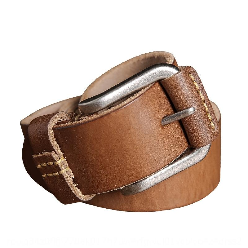 gTzx7 Leather men's belt simplenarrow belt first men's layer cowhide casual smooth fashion 33YmY copper leather
