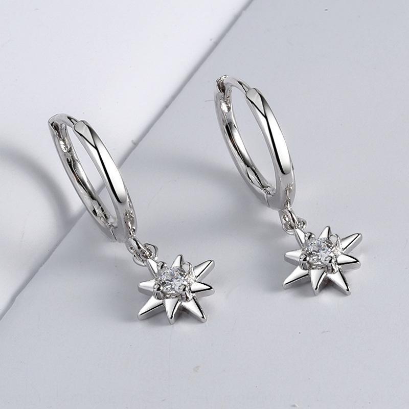 stile FBvJw coreano stile minimalista INS argento S925 ottagonale stella di diamanti e orecchini online dei earwomen Red Star orecchini di diamanti
