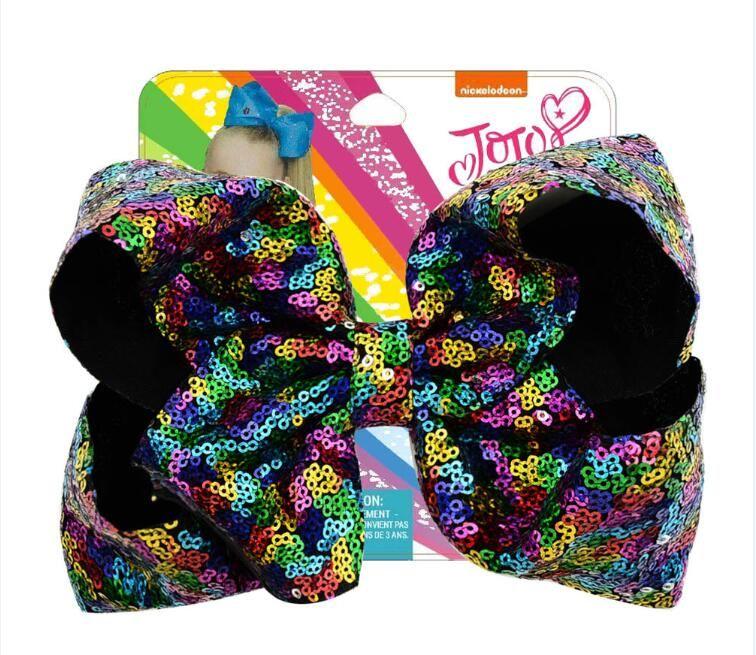 """6pcs 8"""" JOJO SWIA archi dei capelli Grande paillettes arcobaleno archi dei capelli per le ragazze a mano Boutique Bambini Accessori per capelli"""
