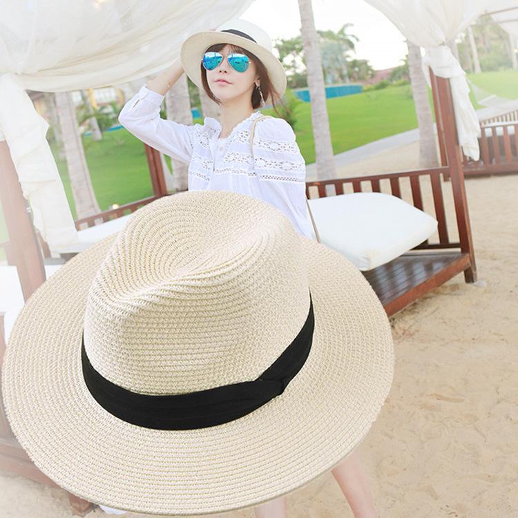여성 모자 페도라 해변 태양 모자 UPF50 + 최대 챙이 넓은 밀짚 파나마 롤