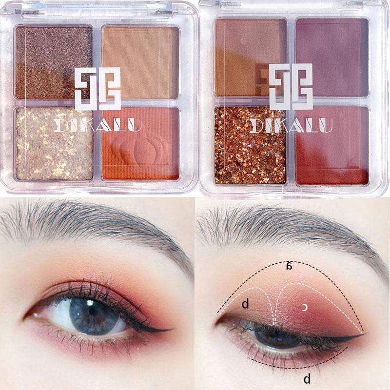 Дикалу 4 Цвет Eyeshadow палитра макияж палитра теней с блестками теней Перламутровые водонепроницаемым пришивания глаз тени