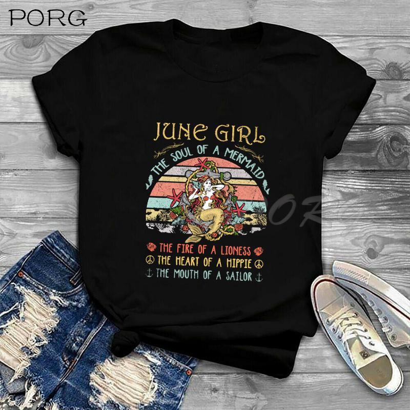 Juni Mädchen guter Geburtstag-lustiger T-Shirt Frauen Plus Size Damenmode Tops Unisex Harajuku koreanische Kleidung Graphic Tees Frauen 90s