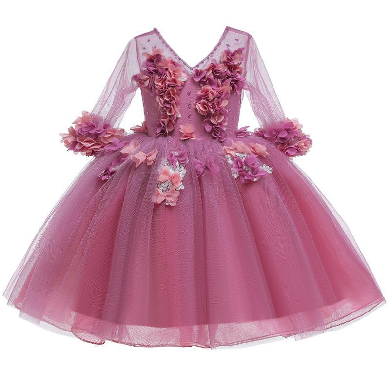 Flor grande del arco vestido de princesa Children Vestido vestido de los niños de las niñas de Navidad Año Nuevo ropa de la niña de ropa de tamaño 4-12Yrs