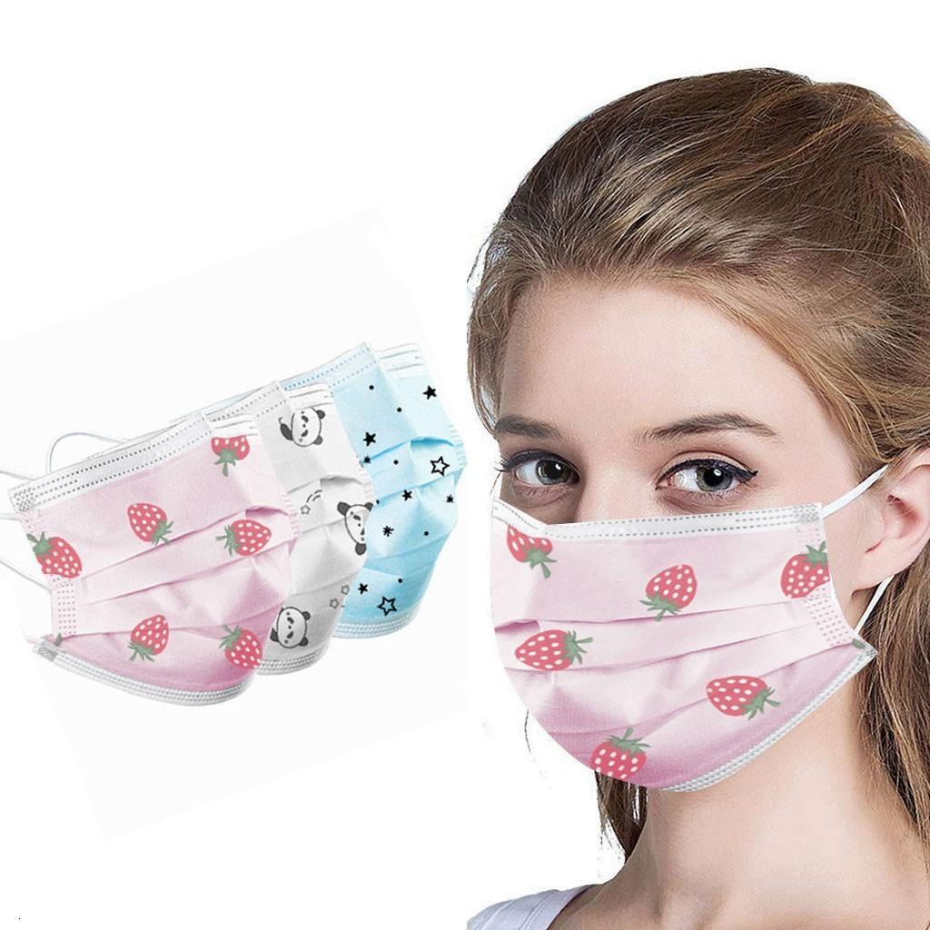 adultos 50pc morango máscara descartável moda 3ply ouvido laço máscaras de não-tecidos meltblown mundschutzmaske mondkapjes tapabocas Mascarillas
