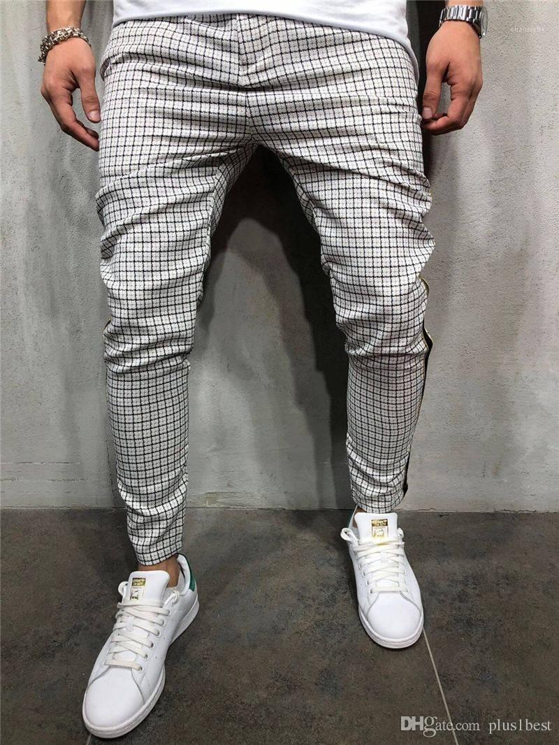 Cepler Erkek Tasarımcı Ekose Pantolon İlkbahar Yaz Full Uzunluğu ile Orta Bel Giyim İpli Kalem Pantolon