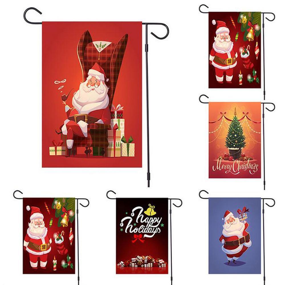 신고 야외 NEW 메리 크리스마스 데코 홈 매달려 크리스마스 장식품 배너 깃발 Doudle 사이드 인쇄 배너 산타 클로스, 눈사람