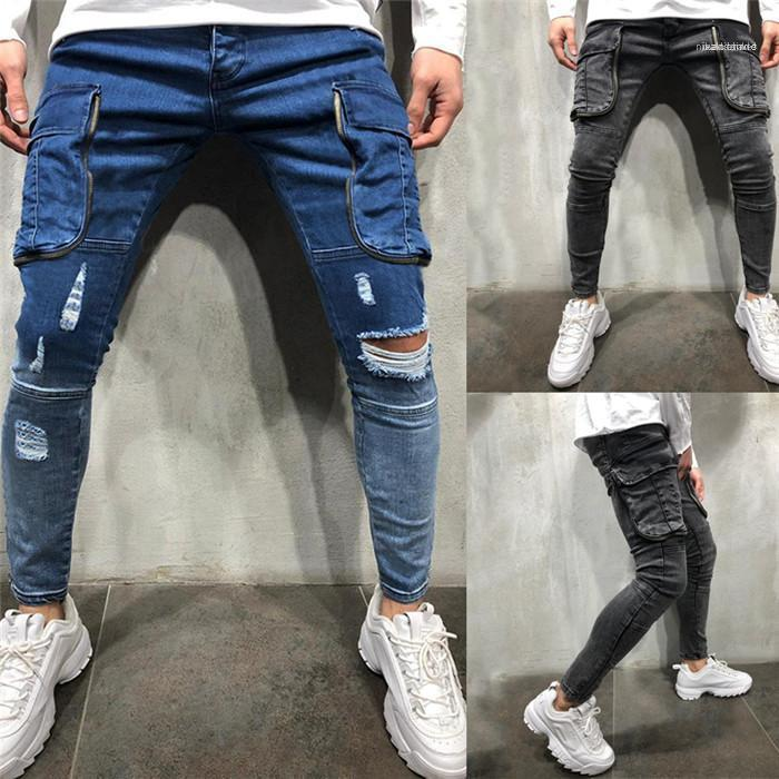 Roupa Sólidos calças lápis Casual Cor Designer Vestuário Mens Outono Bolsos Jeans New Style Homme Moda