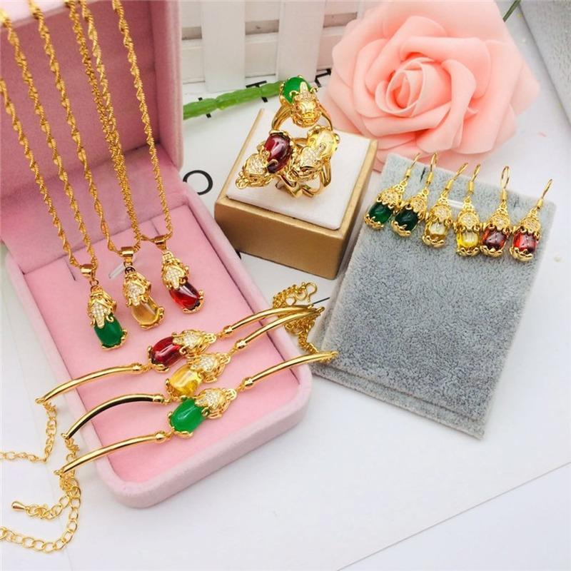 Bracelets For Women Pixiu Bracelet Vietnam Shajin Jewelry Brass Gold Plated Jewelry Tricolor Gem Pixiu Bracelet Pendant