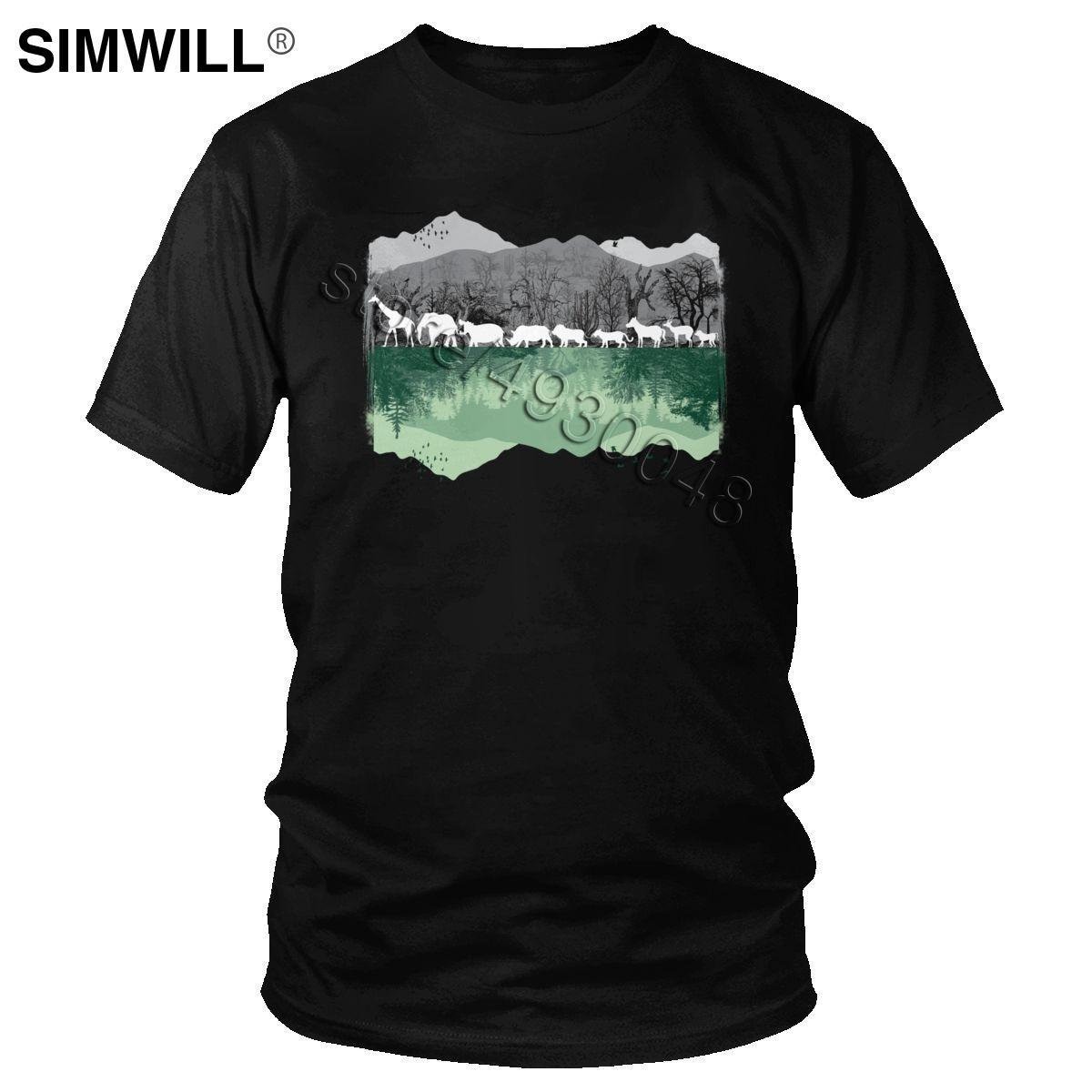 Trend Save The Wild Animal T gömlek erkekler Pamuk Tees Yuvarlak Yaka Kısa Kollu Afrika Hayat Tişört Grafik Yaz Hediye Tops yazdır