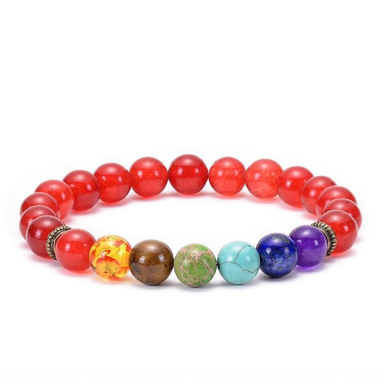 rujsJ lave chakra de pierre volcanique coloré perles bracelet en perles bracelet en sept énergie de yoga roue d'impulsion