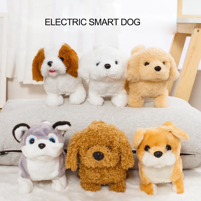 Elettronica animali Sound Control Robot cani abbaiano stand Passeggiata Carino Interactive Toys Dog elettronico con cani Pechinese giocattoli per bambini regalo