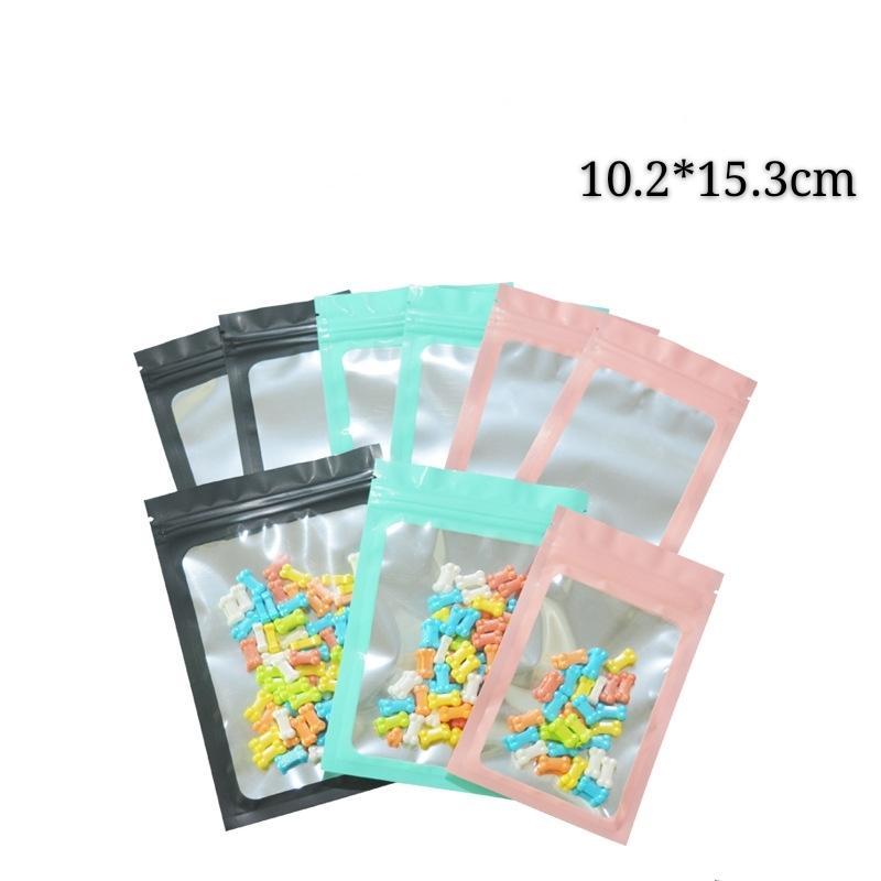 10.2 * 15.3cm foil balanças alumínio zip 100 pcs pacote de pacote embalagem bloqueio mylar seco zíper sacos de armazenamento flat botons folha fosca mnvit