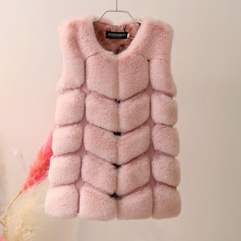 Lagabogy Bébés filles Vestes Manteau de fourrure artificielle Mode enfants gilet de fourrure d'hiver Fausse fourrure de lapin Filles Vêtements TZ302