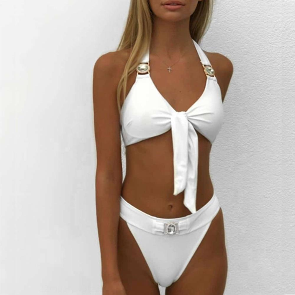 cLoW9 2020 traje de baño bikini dividido 2020 de gama alta de alta extremo anudado de división bikini traje de baño anudado