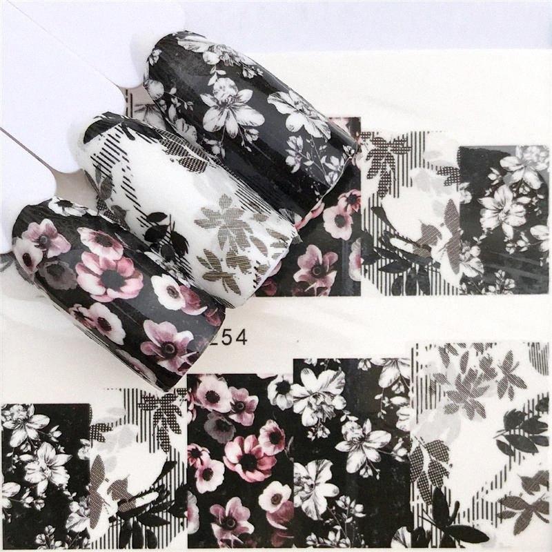 YZWLE Flor Negro Hada de la flor / diseños de la transferencia del agua etiqueta del arte del clavo DIY Fashion Wraps Consejos de manicura Herramientas PILD #